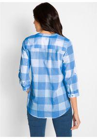 Bluzka bawełniana, długi rękaw bonprix lodowy niebieski - biały w kratę. Kolor: niebieski. Materiał: bawełna. Długość rękawa: długi rękaw. Długość: długie