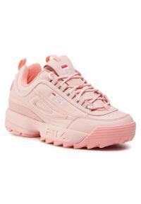 Różowe buty sportowe Fila na płaskiej podeszwie, z cholewką