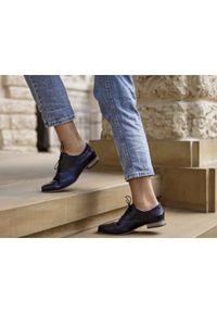 Niebieskie półbuty Zapato w kolorowe wzory, z cholewką, casualowe