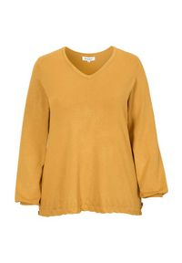 Żółty sweter Zhenzi z dekoltem w serek, długi, z długim rękawem