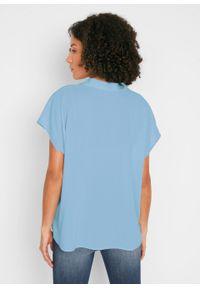 Bluzka boxy, krótki rękaw bonprix pudrowy niebieski. Kolor: fioletowy. Długość rękawa: krótki rękaw. Długość: krótkie