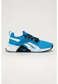 Niebieskie buty sportowe Reebok z cholewką, na sznurówki