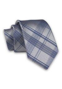 Alties - Szaro-Granatowy Elegancki, Męski Krawat -ALTIES- 7cm, Stylowy, Klasyczny, w Kratkę. Kolor: niebieski. Materiał: tkanina. Wzór: kratka. Styl: klasyczny, elegancki