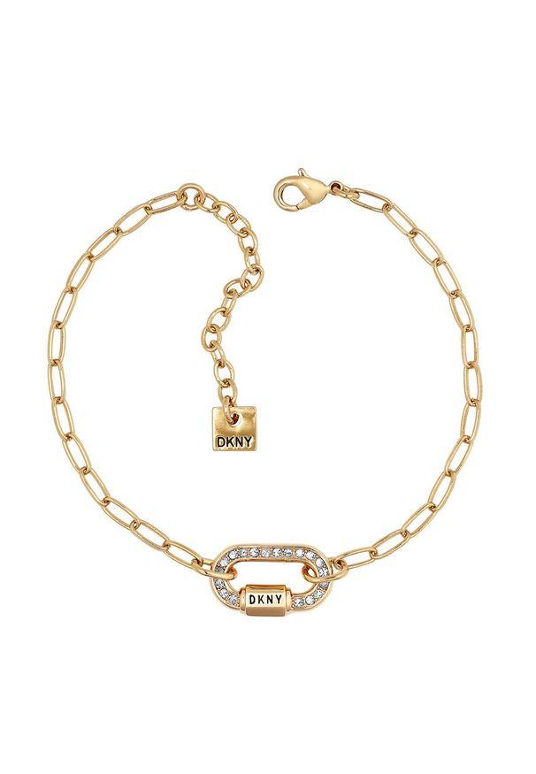 Złota bransoletka DKNY metalowa, z aplikacjami