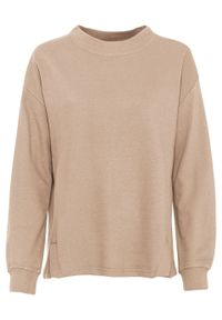 Bluza dresowa bonprix cielisty. Kolor: beżowy. Materiał: dresówka. Styl: klasyczny