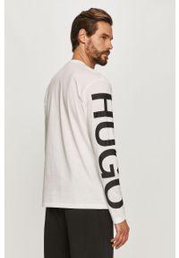 Biała koszulka z długim rękawem Hugo z nadrukiem, na co dzień, casualowa