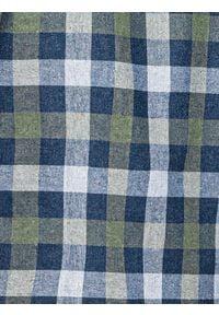 Ombre Clothing - Koszula męska w kratę z długim rękawem K565 - khaki - XXL. Kolor: brązowy. Materiał: bawełna, poliester. Długość rękawa: długi rękaw. Długość: długie