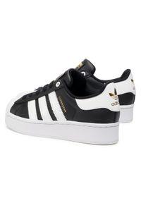 Czarne buty sportowe Adidas z cholewką, Adidas Superstar, na płaskiej podeszwie