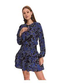 TOP SECRET - Sukienka w kwiaty z falbanami. Okazja: do pracy, na imprezę. Kolor: niebieski. Materiał: dzianina. Długość rękawa: długi rękaw. Wzór: kwiaty. Sezon: jesień. Typ sukienki: koszulowe