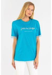 T-shirt Armani Exchange w kolorowe wzory, z okrągłym kołnierzem