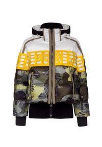 Wielokolorowa kurtka narciarska Bogner w kolorowe wzory, z kontrastowym kołnierzykiem