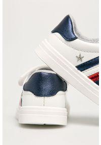 Białe buty sportowe TOMMY HILFIGER na rzepy, z cholewką, z okrągłym noskiem