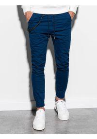 Niebieskie spodnie Ombre Clothing na co dzień, casualowe, z aplikacjami