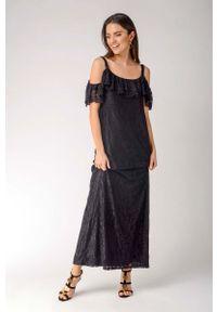 Czarna sukienka wizytowa Nommo maxi