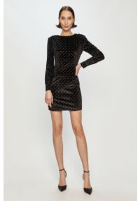 Czarna sukienka Guess mini, z długim rękawem