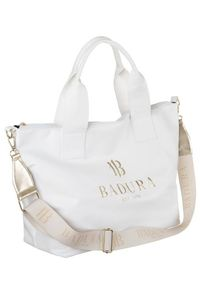 Duży shopper damski biały Badura T_D140BI_CD. Kolor: biały. Materiał: skórzane. Rodzaj torebki: do ręki