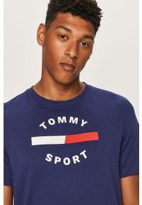 Niebieski t-shirt Tommy Sport z nadrukiem, na co dzień, sportowy