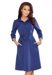Numoco - Rozkloszowana Szmizjerka z Paskiem - Chabrowa. Kolor: niebieski. Typ sukienki: szmizjerki