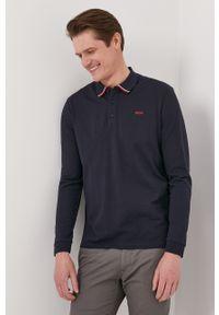 Niebieska koszulka z długim rękawem Hugo gładkie, z długim rękawem, casualowa