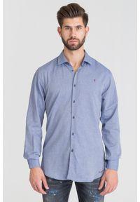 Niebieska koszula Trussardi Jeans biznesowa, na lato