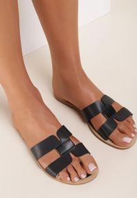 Renee - Czarne Klapki Anastias. Nosek buta: okrągły. Kolor: czarny. Wzór: aplikacja. Obcas: na obcasie. Wysokość obcasa: niski