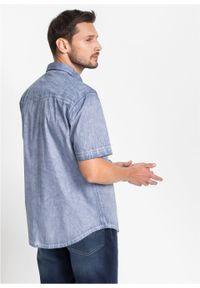 Niebieska koszula bonprix krótka, z krótkim rękawem, z aplikacjami