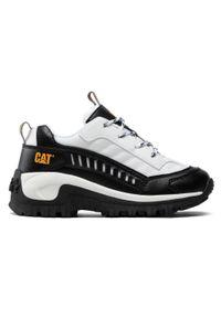CATerpillar - Sneakersy CATERPILLAR - Intruder CK164739 White/Yellow. Okazja: na uczelnię, na spacer, na co dzień. Kolor: biały. Materiał: skóra, materiał. Szerokość cholewki: normalna. Styl: casual