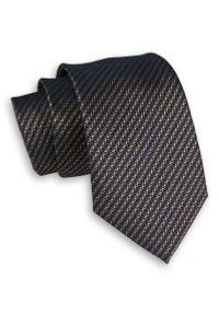 Alties - Granatowo-Beżowy Elegancki Męski Krawat -ALTIES- 7 cm, Klasyczny, w Paski, Prążki. Kolor: niebieski, beżowy, brązowy, wielokolorowy. Materiał: tkanina. Wzór: prążki, paski. Styl: klasyczny, elegancki