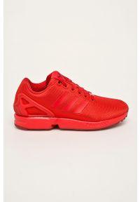 Czerwone buty sportowe adidas Originals na sznurówki, z okrągłym noskiem, z cholewką