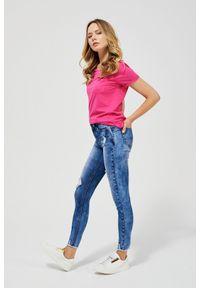 MOODO - Jeansy push up z przetarciami. Długość: długie. Wzór: gładki