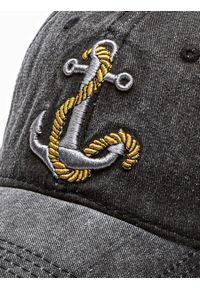 Ombre Clothing - Czapka męska z daszkiem H081 - czarna - uniwersalny. Kolor: czarny. Materiał: bawełna