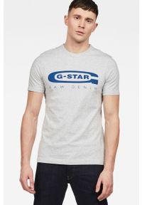 Szary t-shirt G-Star RAW melanż, z okrągłym kołnierzem