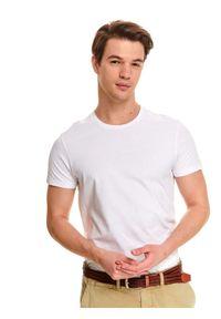Biały t-shirt TOP SECRET z klasycznym kołnierzykiem, klasyczny, z nadrukiem, na co dzień
