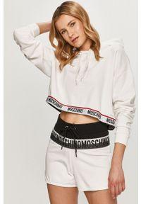 Moschino Underwear - Bluza. Okazja: na co dzień. Typ kołnierza: kaptur. Kolor: biały. Materiał: dzianina. Wzór: nadruk. Styl: casual