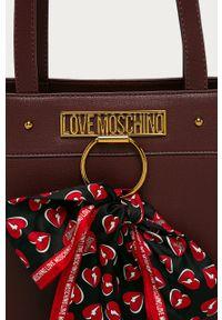 Brązowa shopperka Love Moschino gładkie, skórzana, duża