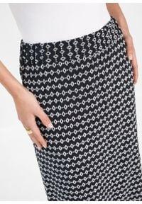 Spódnica z wiskozy z nadrukiem bonprix czarno-biały z nadrukiem. Kolor: czarny. Materiał: wiskoza. Wzór: nadruk