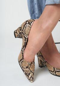 Renee - Camelowe Wężowe Czółenka Elize. Nosek buta: szpiczasty. Zapięcie: bez zapięcia. Materiał: lakier. Obcas: na słupku. Styl: klasyczny