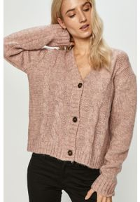 Różowy sweter rozpinany Answear Lab melanż, wakacyjny