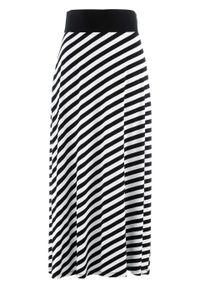 Czarna spódnica bonprix w paski, długa, na lato