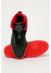 Czarne sneakersy Puma z okrągłym noskiem, z cholewką, na sznurówki