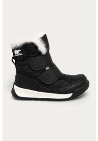 Czarne buty zimowe sorel na zimę, na rzepy, z okrągłym noskiem
