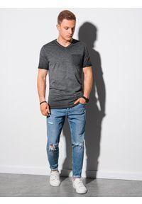 Ombre Clothing - T-shirt męski bawełniany S1388 - czarny - XXL. Kolor: czarny. Materiał: bawełna