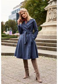 Marie Zélie - Płaszcz wełniany Achillea niebieski. Kolor: niebieski. Materiał: wełna. Wzór: motyw zwierzęcy, ze splotem. Sezon: zima #10