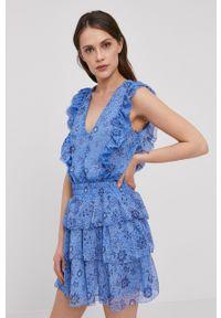 Pepe Jeans - Sukienka Marietas. Kolor: niebieski. Materiał: tkanina. Typ sukienki: rozkloszowane