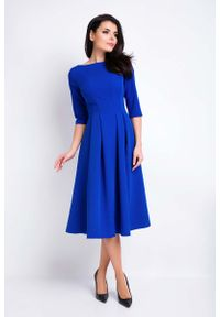 Niebieska sukienka wizytowa Awama wizytowa, midi