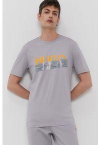 Hugo - T-shirt z kolekcji urodzinowej. Okazja: na urodziny. Kolor: szary. Wzór: nadruk. Styl: casual