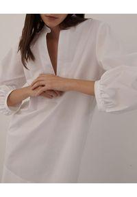 Marella - MARELLA - Biała bawełniana sukienka Stuarda. Kolor: biały. Materiał: bawełna. Wzór: ażurowy. Typ sukienki: proste. Długość: mini