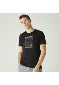 NYAMBA - Koszulka fitness slim. Kolor: czarny. Materiał: poliester, elastan, bawełna, materiał. Sport: fitness