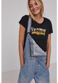 Levi's® - Levi's - T-shirt bawełniany. Okazja: na co dzień, na spotkanie biznesowe. Kolor: czarny. Materiał: bawełna. Wzór: nadruk. Styl: biznesowy, casual