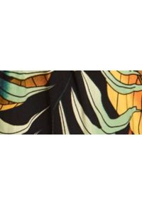 DRYWASH - Kombinezon damski w roślinny nadruk. Kolor: czarny. Materiał: dzianina. Długość rękawa: na ramiączkach. Długość: długie. Wzór: nadruk. Sezon: lato